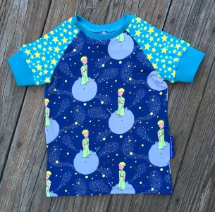 This little prince fabric I picked for my boys and they each chose the sleeve fabric and cuff color.