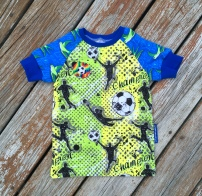 Noah is a big soccer fan and picked all fabrics and cuffs and he added this funny little cotton patch, too.